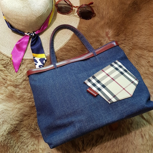 Burberry London Handbags - BURBERRY LONDON DENIM MD TOTE BAG LEATHER TRIM EUC